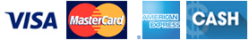 Payment Logo VISA, Master Card, American Express, CASH